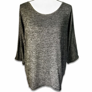 Plush charcoal gray scoop neck hi-lo tunic